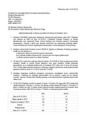 Sprawozdanie Fundacji za 2014 s1