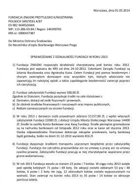 Sprawozdanie Fundacji za rok 2013 s1