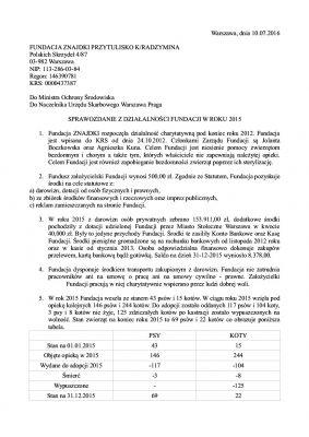 Sprawozdanie Fundacji za 2015 s1